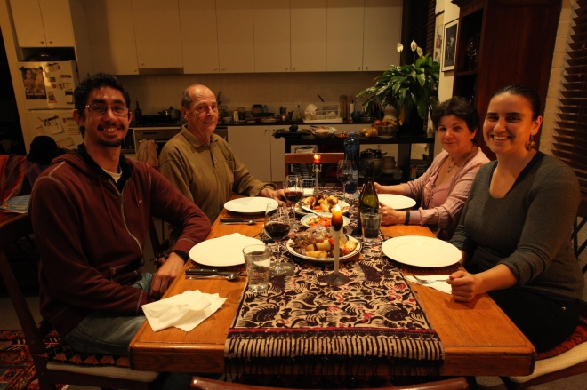 Dinner with Richard & Rosalba. Roasted goat and vegetables with roasted red pepper salad.