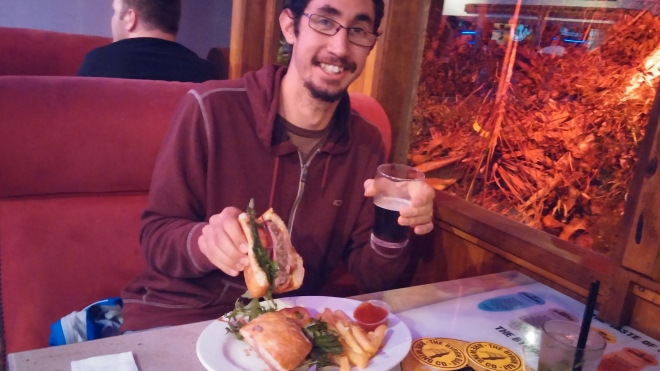 Paul feasting on an Aussie burger -- with beetroot. And a nice ale to wash it down.