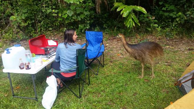 Christina and her new cassowary friend/living dinosaur