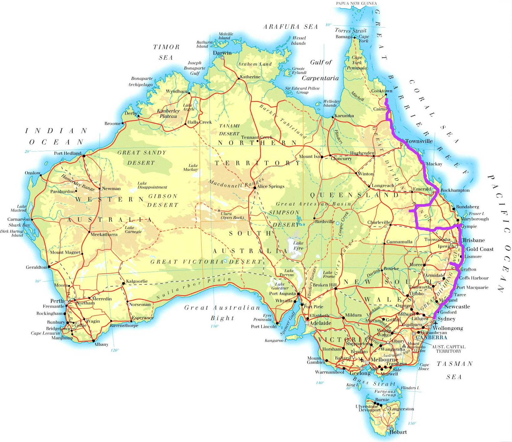 Maps Update 564470 Map East Coast of Australia Australia Map – Eastern Australia Map