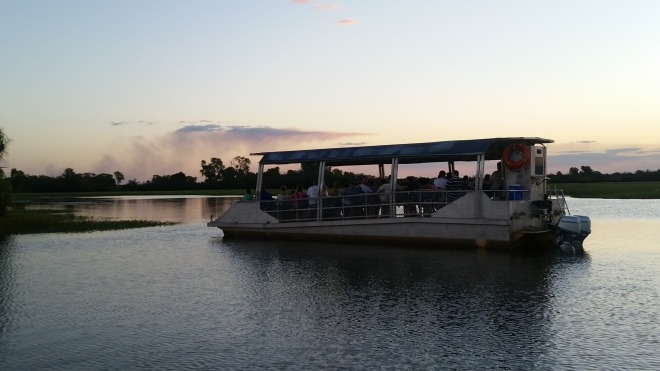 River cruise boat. You can see the smoke in the distance from controlled burns