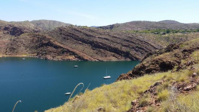 Lake Argyle. The caravan park where we stayed at is in the top right corner.